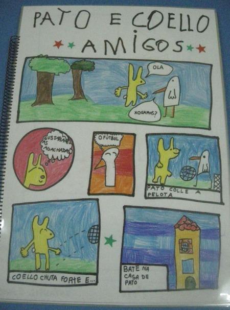 Unha mostra do comic deseñado polos alumnos e alumnas de Infantil do CEIP As Centieiras (Fene) trala sesión de contos de PALABRAS NO AR