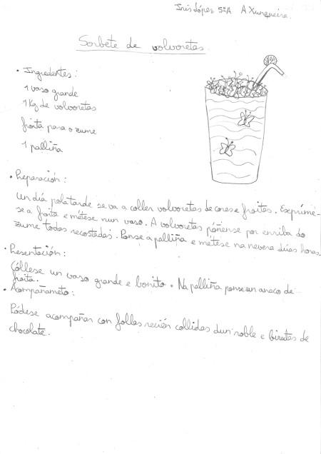 Sorbete de bolboretas que nos propón Iris López, do CEIP da Xunqueira