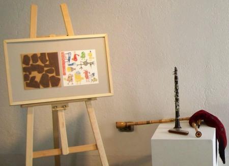 """Unha das ilustracións de Marc Taeger para o libro-disco """"Tic-Tac"""", realizada coa técnica do linóleo"""
