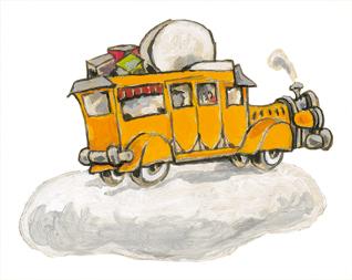 Autobús. Ilustración de Xulio Gayoso para A banda de Vilacendoi. Kalandraka Editora